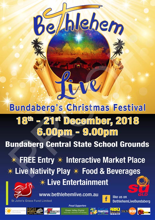 Bethlehem Live Bundaberg 2017 sign